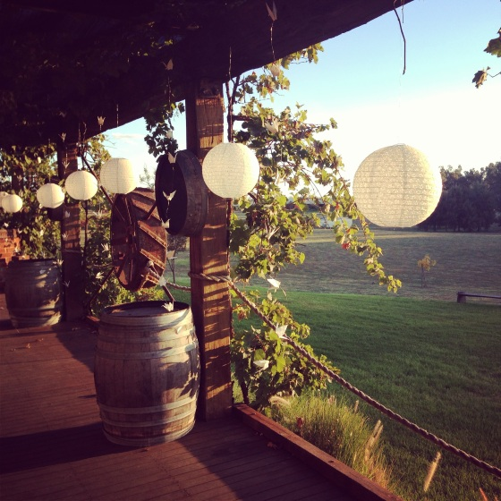 paper lanterns and wine barrels
