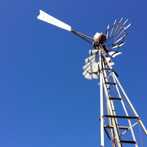 blue sky windmill