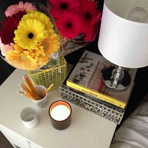 bedside table arrangement