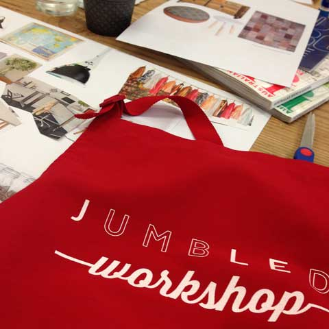 jumbled work shop aprons