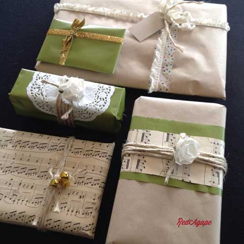 vintage sheet music as gift wrap