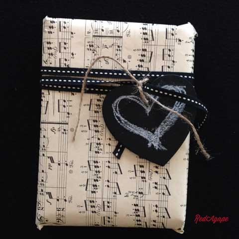 vintage sheet music as gift wrap