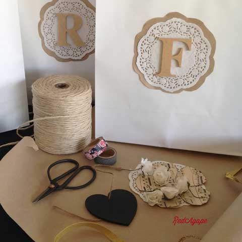 wrapping gifts with doilies and brown paper