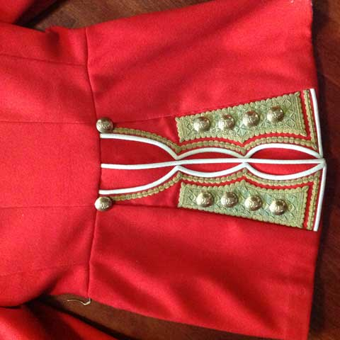 irish guard jacket with gold buttons