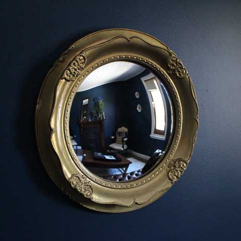 antique gold framed convex mirror
