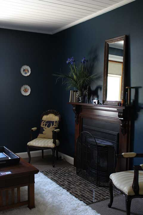 parlour makeover dark navy walls