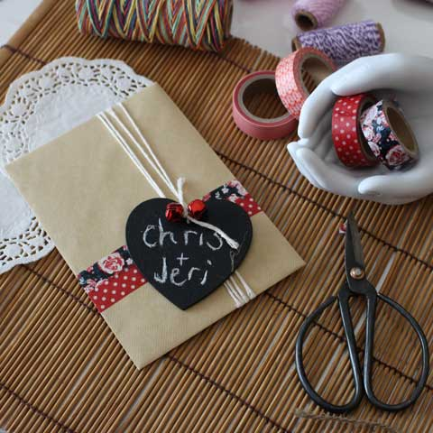how to make a washi tape heart card