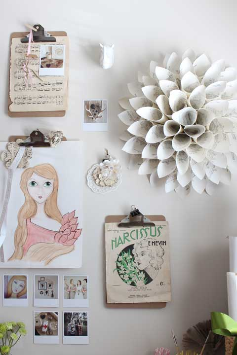 vintage paper wreath display wall