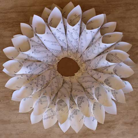 vintage paper wreath progress