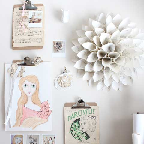 vintage paper wreath wall decor display
