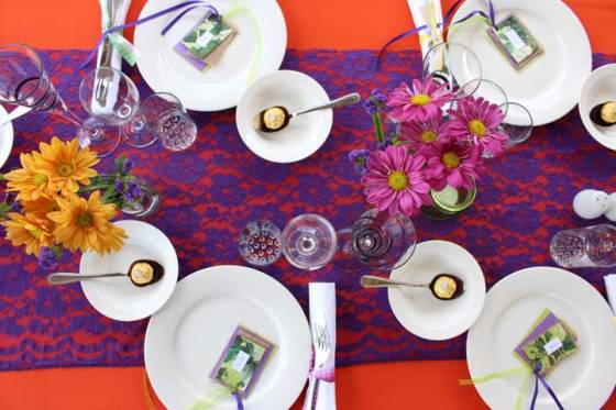 DIY party decor purple orange
