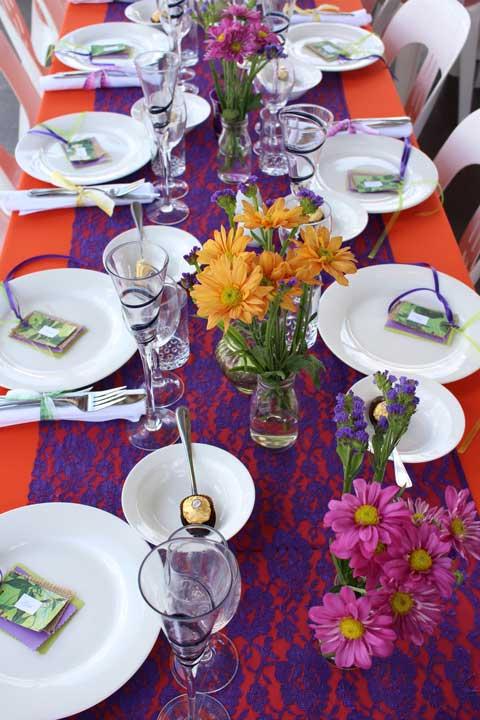 party table decor purple orange