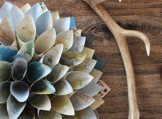 paper cone map wreath