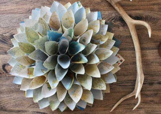 paper cone wreath from maps