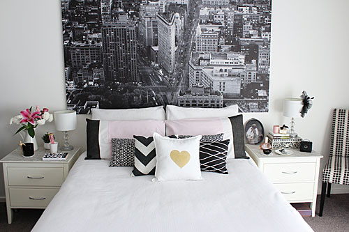 Monochrome pink and gold bedroom styling