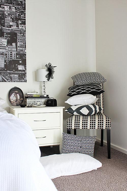 Monochrome bedroom interiors