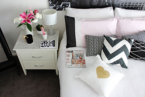 Interior styling with monochrome and pink