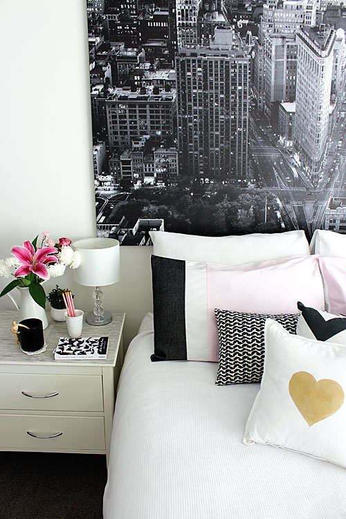 Monochrome pink and gold bedroom interiors