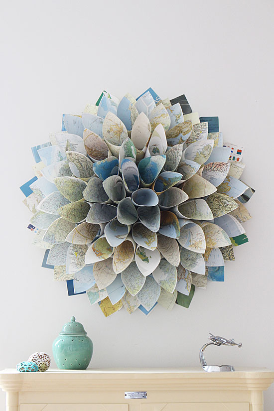 upcycled altas as paper wreath