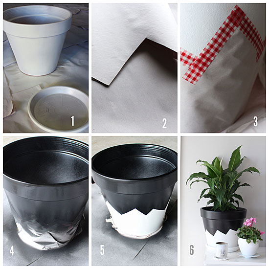 black and white painted pot tutorial