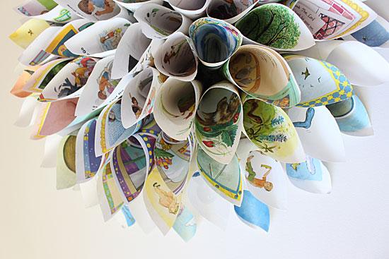 golden book craft paper wreath