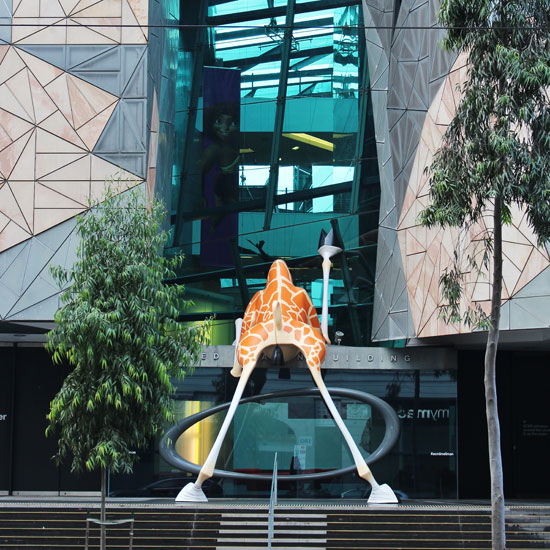 giraffe in federation square Melbourne