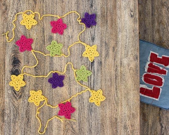 crocheted star garland