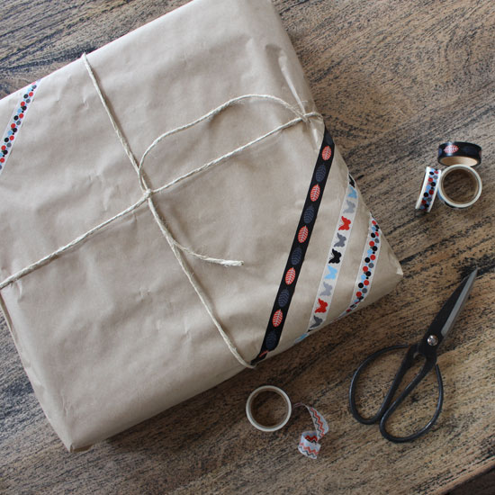 washi tape and brown paper gift wrapping