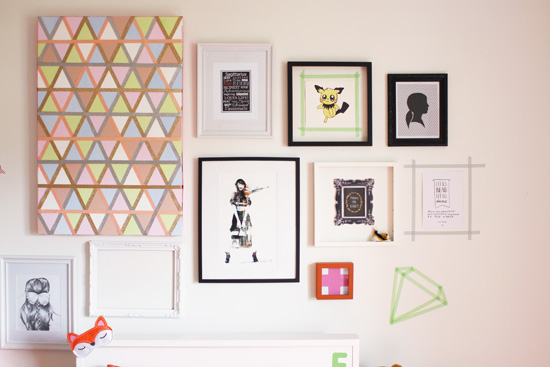 Teen bedroom gallery wall