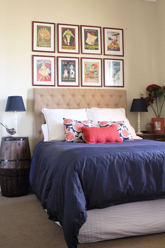 navy bedroom tufted headboard