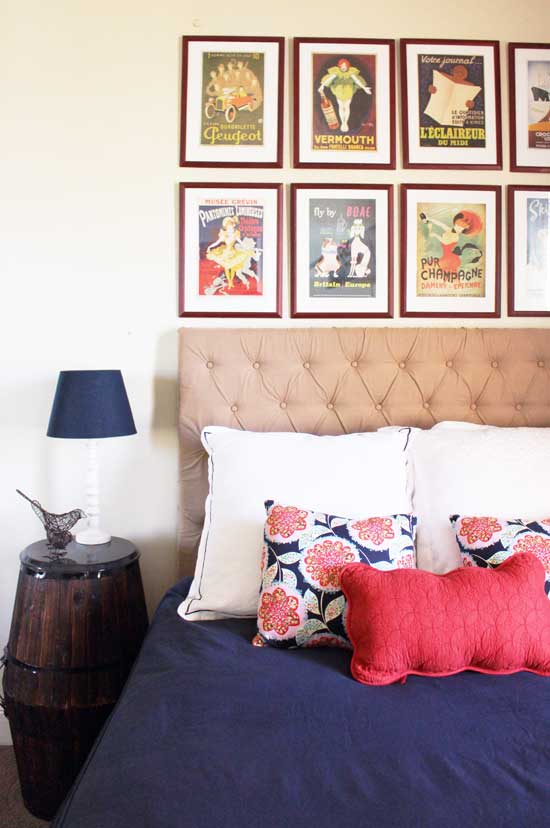 navy red beige bedroom