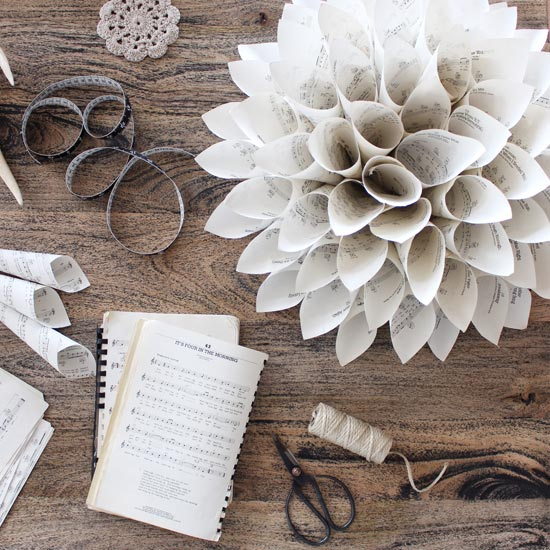 Vintage Sheet Music Paper Wreath