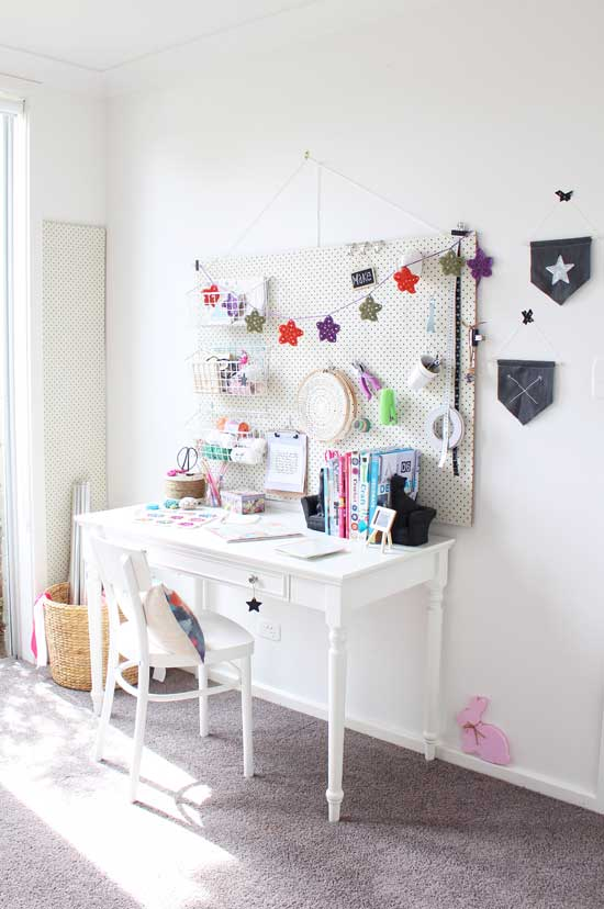 pegboard craft room