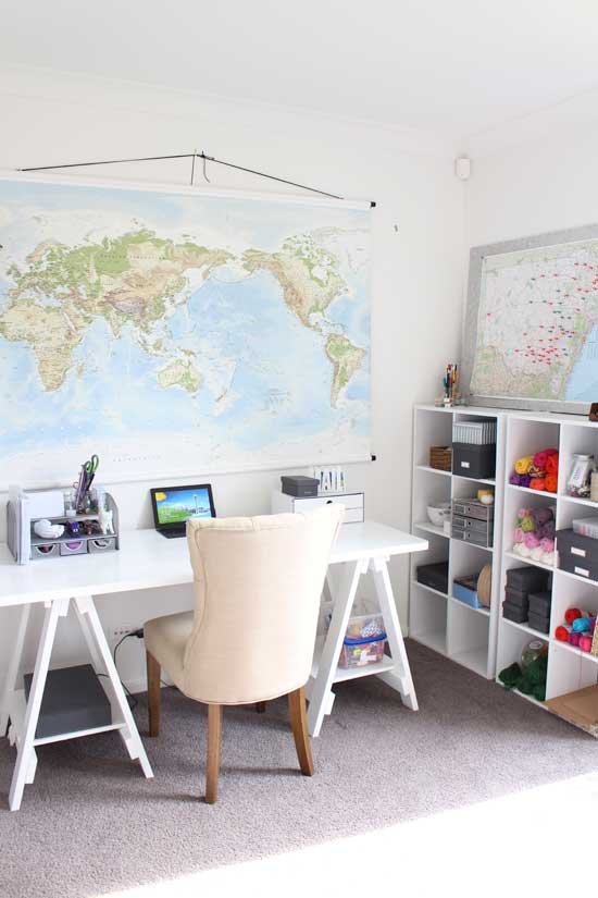 home office, stylish, maps