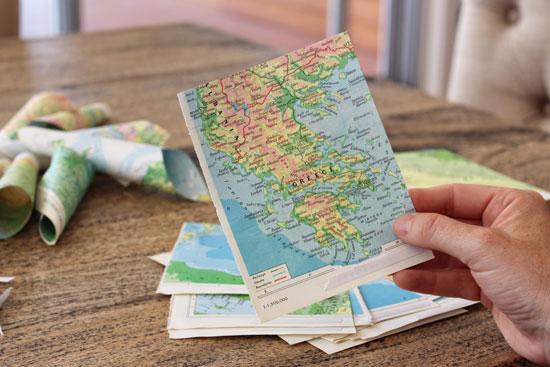 DIY vintage atlas pages