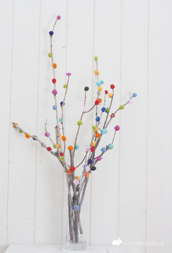 pom pom branches for christmas