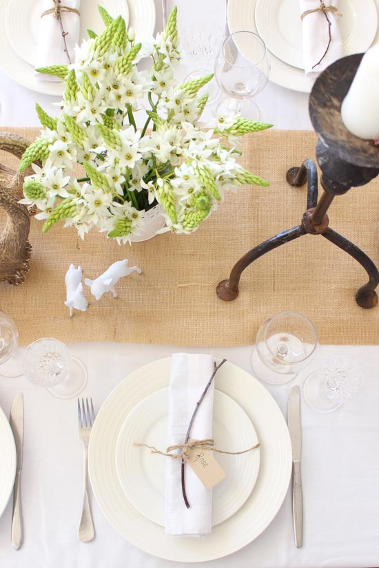 Christmas, table setting, natural,