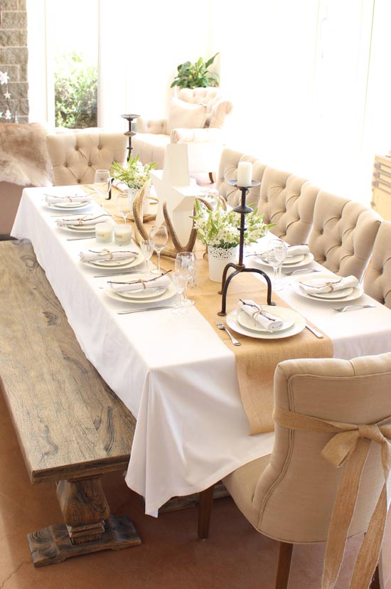 Christmas, table setting, hessian, white, natural