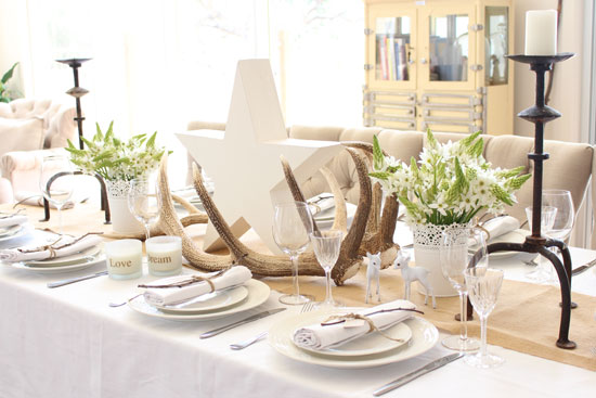 White, Christmas, table setting, styling