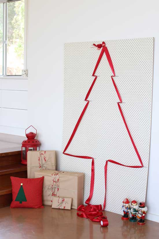 pegboard christmas tree ribbon