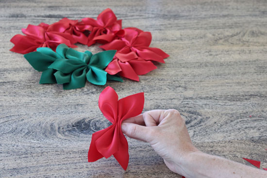 ribbon poinsettias