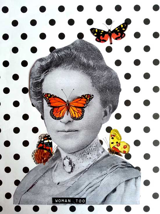 collage butterflies woman