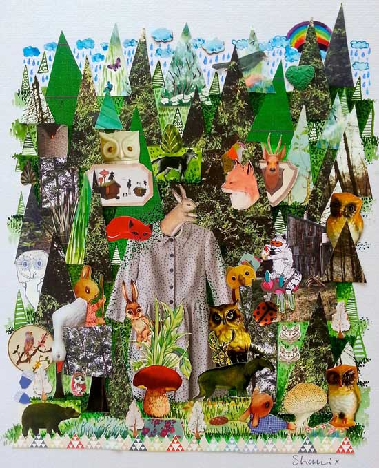 paper collage forest art