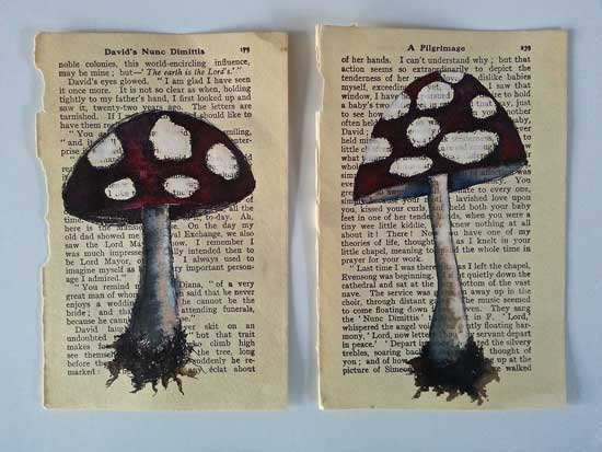 mushrooms art on book pages
