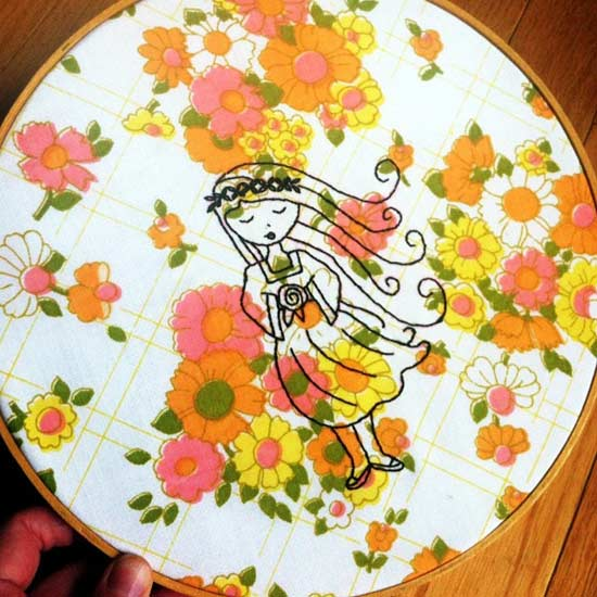 stitching on embroidery hoop