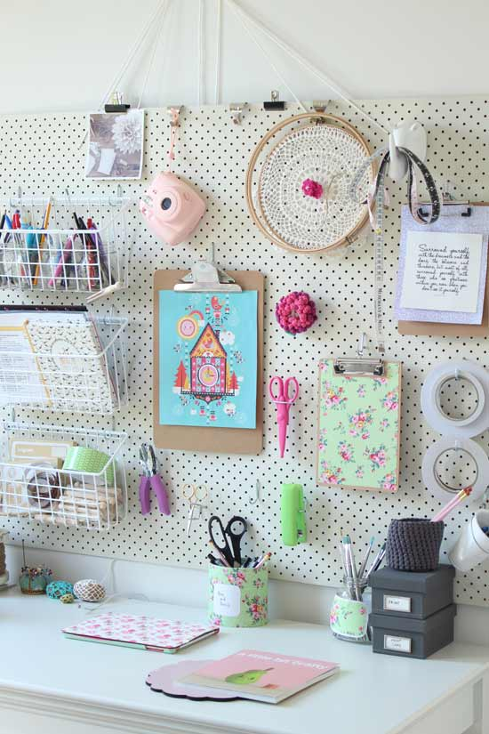 pretty pegboard craft room