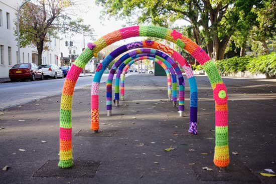 Redfern oval - yarn bombing